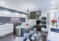 Featured in International Book publication 'Kitchen Inspiration' Stainless steel, Silestone Quartz benchtops, with textured lacquered wall cabinetry, electronic opening drawers and doors Oriental, Glamour, Laundry In Bathroom, Cool Kitchens, Pantry, Designer, Interior Design, Table, Furniture