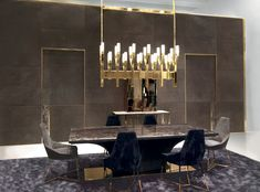 IANUS - Boiserie Endless - Sliding doors in suede and handle insert of Calacatta marble. Designed by Alessandro La Spada