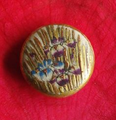 Antique Satsuma Button Iris design Heavily gilded. Flower button . Antique Japanese Ceramic. Collector's buttons.