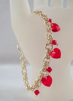 Silver Red Heart Byzantine Chain Mail Bracelet by ArtisticTouches, $50.00