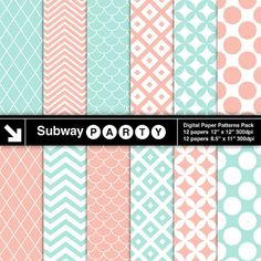 INSTANT DOWNLOAD Mint and Coral Geometric Digital Papers Pack in Diamond, Lattice, Scales, Chevron. Scrapbook / Invite DIY 8x11, 12x12 jpg