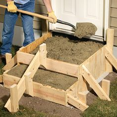 We'll walk you through the complete step-by-step process for laying out designing and building concrete steps. - March 09 2019 at Cement Crafts, Concrete Projects, Backyard Projects, Outdoor Projects, Concrete Porch, Concrete Stairs, Deck Stairs, Outdoor Steps, Patio Steps