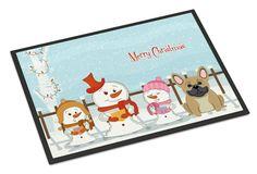 Merry Christmas Carolers French Bulldog Cream Indoor or Outdoor Mat 24x36 BB2341JMAT