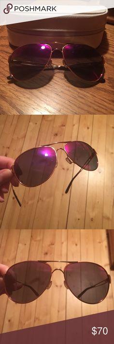 Oakley Purple Mirror Aviators Fun and cute purple mirrored aviators by Oakley. Polarized. Gold detailing. Like new with original white case. No trades please. Oakley Accessories Sunglasses