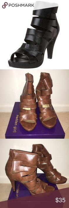 """Tan/Camel Madden Girl Pumps size 11M Brand New Never been worn! One of them is a little out of structure from being in the box.  * Synthetic upper & sole * Shaft measures approximately 5"""" from arch * Heel measures approximately 3 3/4"""" * Platform measures approximately 3/4"""" * Boot opening measures approximately 9"""" around Madden Girl Shoes Platforms"""