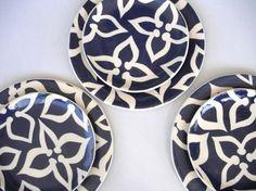 3 Salad Plates Navy Blue Pattern by CeramicaBotanica