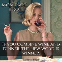 Wine and dinner = winner. Sassy retro humor.