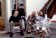 Left to Right. Prince Rainier, Princess Stephanie, Princess Grace and Princess Caroline of Monaco during a family vacation at their chalet in Gstaad, Switzerland. February 1979.,