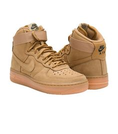 8dbbb71d5ba NIKE Air Force 1 High sneaker Color Flax Lace up closure Padded ankle for  support NIKE swoosh detail.