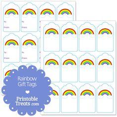 Adorn your gifts and party favors with these free printable rainbow gift tags. These cute free printable rainbow gift tags have a white background with light blue border. Rainbow Theme, Rainbow Birthday, Free Printable Gift Tags, Free Printables, Girl Scout Bridging, Care Bear Party, Rainbow Invitations, Birthday Tags, Daisy Girl Scouts