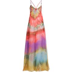 Emilio Pucci Embellished Silk Maxi Dress (129.680 RUB) ❤ liked on Polyvore featuring dresses, gowns, long dresses, maxi dresses, multicolor, evening maxi dresses, red evening gowns, maxi dress, silk gown and red evening dresses