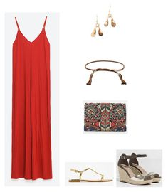 Red jumpsuit+golden flat sandals or black and gold wedges+brown belt+gold earrings+printed clutch. Summer Going Out Evening Outfit 2016