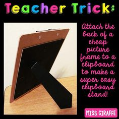In case you didn't see my teacher trick post about clipboard stands back in July, I wanted to show you again! These are PERFECT for… Classroom Hacks, Classroom Setting, Future Classroom, Classroom Rewards, Classroom Setup, Classroom Design, Math Classroom, Teacher Organization, Teacher Hacks