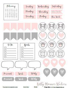 Kitty-Planner-Stickers - pdf para imprimir gratis Descarga disponible para su uso personal planificador.
