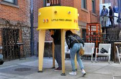 Little Free Library - a freestanding, inverted plastic tank that you stick your head into in order to browse the books that are sheltered from the elements.
