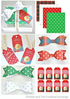 Free Printable Christmas gift tags that you can customize with your own family name, wrapping paper and fun bows.  From Chicfetti and The Creativity Exchange