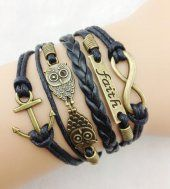 "Euramerican ""Owl"" Leather Braided Bracelets Jewelry Supplies"