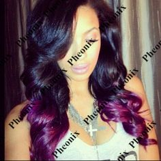 Ombre Natural Black/Purple Synthetic Lace Front wig Glueless Heat Resistant Hair Body Wave Wigs/Free Shipping 2015 New