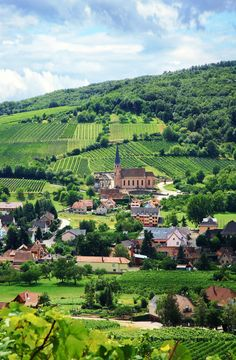 Vineyard and small village in Alsace - France. Route des vines in Alsace - Franc , Places To Travel, Places To See, Wonderful Places, Beautiful Places, Alsace France, Belle France, Stock Image, Beaux Villages, French Countryside