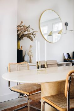 After our kitchen and living room reveal its finally time to share how our dining area currently looks! Dining Area, Dining Table, Travertine Coffee Table, Funky Chairs, Scandinavian Home, Interior Inspiration, Design Inspiration, House Design, Design Design