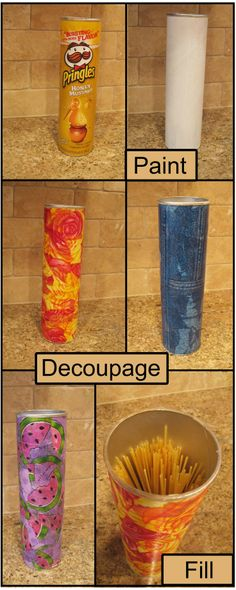 DIY :: Pringles Pasta Storage - Paint, Decoupage, Fill and Enjoy Pringles Dose, Pringles Can, Home Crafts, Diy And Crafts, Arts And Crafts, Paper Crafts, Craft Projects, Projects To Try, Ways To Recycle