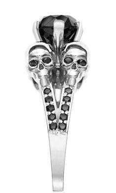 ☆ Beautiful Black Diamond -Ƹ̵- White Gold Skull Ring :¦: Etsy Shop: IzandCo ☆