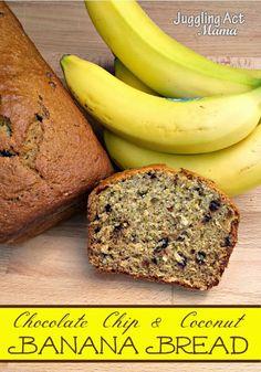 Chocolate Chip Coconut Banana Bread from Juggling Act Mama @jugglingactmama #bananabread #coconut #chocolate http://jugglingactmama.com/2013/10/chocolate-chip-coconut-banana-bread.html