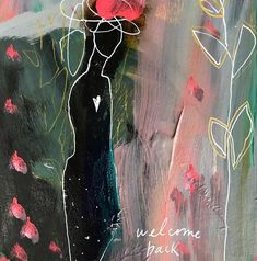 """Welcome Back"" Brave Intuitive Mini Painting by Flora Bowley. Flora Bowley, Mini Paintings, Mix Media, Figure Painting, Acrylics, Figurative, New Art, Minis, Brave"