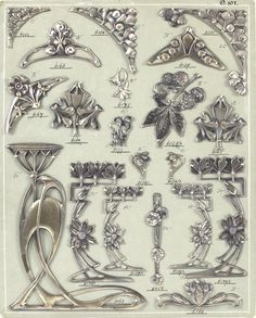 Art nouveau decorative metal work for furniture