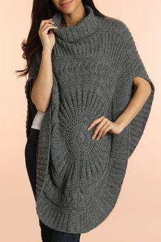 Fabulous oversized sweater poncho will keep you warm and trendy all at the same time. granny chic (via @Beyond the Rack www.beyondtherack.com)