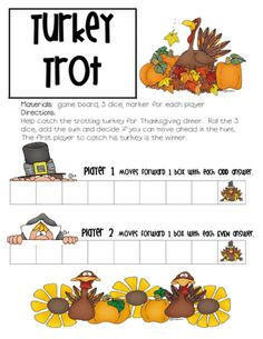 Thanksgiving Math Board FREEBIE