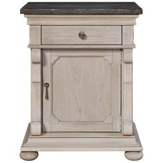Belgian Cottage Carved Bluestone Top Bed Side Table