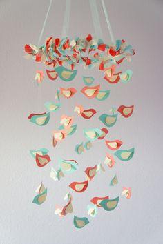 Coral Aqua Nursery Mobile, Wedding Decor, Baby Shower Gift, Photographer Prop. $63.00, via Etsy.