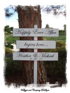 DiReCTioNaL WeDDiNg SiGnS HaPPiLy EVeR AfTeR by lizzieandcompany, $69.95