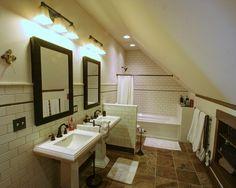 Adorable Attic Master Suite Designs: Traditional Bathroom Twin Mirror Farmhouse Attic Master Suite ~ HOMESBRO Decoration Inspiration