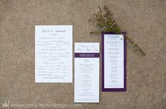 Purple accents interwoven through the stationery and paper suites add elegance.   Memphis Wedding Photography by Amy Hutchinson Photography. Venue: Club Windward / Flowers: A Garden Secret