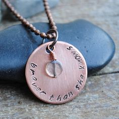 "Items similar to Bravery Quote Pendant, Stamped Copper Necklace reads ""Braver Than She Knows"" with Labradorite Stone on Etsy Sister Gifts, Best Friend Gifts, Gifts For Friends, Gifts For Her, Copper Necklace, Washer Necklace, Unique Jewelry, Handmade Jewelry, Customized Gifts"