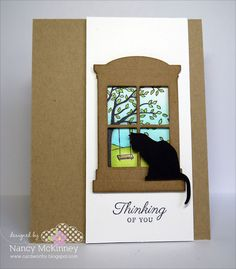 love this kitty in the window; stamps and dies from Taylored Expressions
