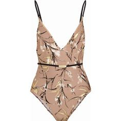 Zimmermann Gossamer printed swimsuit ($250) ❤ liked on Polyvore featuring swimwear, one-piece swimsuits, swimsuits, zimmermann, body, beige, one piece swim wear, colorful bathing suits, deep v neck swimsuit and 1 piece bathing suits