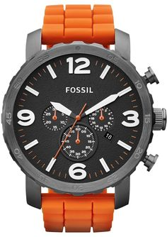 Fossil Men's JR1428 Nate Chronograph Orange Silicone Watch < $89.99 > Fossil Watch Men