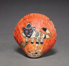 ART OF THE DAY: Shell with Inlaid Feline, 100 BC-700 Peru, South Coast, Nasca style (100 BC-AD 700). See it at the CMA!