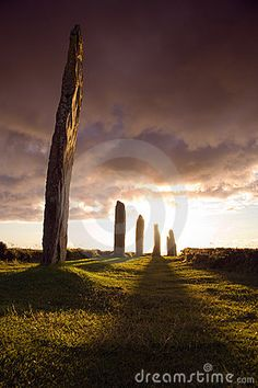 Ring of Brodgar in dramatic evening light and cloudscape #Scotland