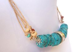 Necklace  Polymer Clay Sterling Silver : Faux Turquoise Hammered Goldstone