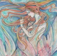 Mermaid Mother and Child Gorgeous mother daughter art print from an original painting Mermaid Sketch, Mermaid Drawings, Mermaid Art, Mother Daughter Art, Mother And Child, Ocean Quilt, Witch Tattoo, Watercolor Mermaid, Life Drawing