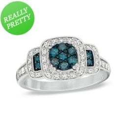 I've tagged a product on Zales: 1/2 CT. T.W. Enhanced Blue and White Diamond Three Stone Cluster Ring in 10K White Gold