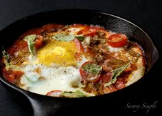 Baked eggs and chorizo make a simple dinner or brunch