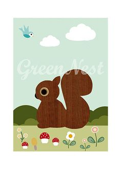 This would be so cute in Kendall's room -- Cute Wooden Squirrel and little Bluebird Collage