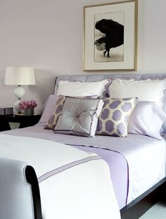 I Love The Soft Lilac Bedding Against The Bright White And Black Accents