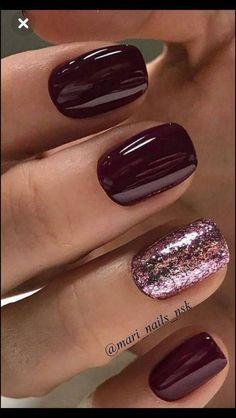 Classy Nails, Fancy Nails, Stylish Nails, Pretty Nails, Pretty Nail Colors, Chic Nails, Classy Nail Designs, Sparkle Nail Designs, Burgundy Nails