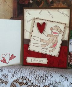 Stampin Up sock monkey card for any occasion on Etsy, $2.00